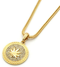 "Mens Medallion Marijuana Gold Clear 24"" Franco Chain Pendant Necklace"