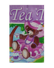 Teddy Bear Tea Party Decoration Pink Purple Hanging Giant Plastic Sign Banner
