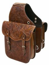 WESTERN HORSE SADDLE BAG OR MOTORCYCLE Features Tooled Leather