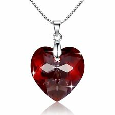 925 Silver Red Heart Crystal Necklace Valentine Love Pendant Swarovski Elements
