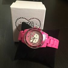 SANRIO HELLO KITTY GLITTER DIAL & ACRYLIC STRAP QUARTZ PINK WATCH