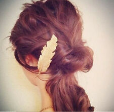Retro Leaf Feather Hair Pin Jewelry Women Vintage Hair Clip Barrette Bobby Pins