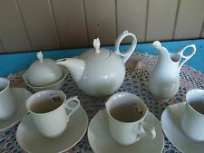 """MEISSEN Germany  Weifs """"WAVE WHITE""""  Shape Waves Relief SERVICE TEA SET for FOUR"""