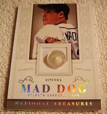 "GREG MADDUX 2014 NATIONAL TREASURES ""MAD DOG"" JERSEY BUTTON PATCH SERIAL #2/3"