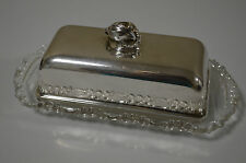 Vintage The Sheffield Silver Co. Covered Butter Dish Silver Plated and Glass