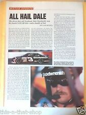 DALE EARNHARDT SR. ARTICLE MAGAZINE AD PAGE FRONT & BACK CLIPPING CUP WINNER