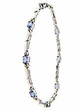 "Natural Tanzanite Bracelet 1.6 CT sterling silver 3mm 7.4"" 4.89g."