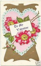 Original Vintage 1907-15 Valentine Day PC- Heart- Flowers- To My Valentine