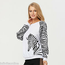 Fashion Women Long Sleeve Zebra Print Sweatshirt Blouse Casual T-Shirt Pullover