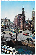 Amsterdam The Mint Tower PPC Unposted, with Tram and 50's road traffic