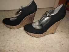 G by Guess black with gold glitter platform High  solid shoes for women size 7