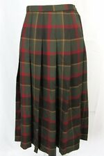 Pendleton Skirt size 16 Olive Green Red Plaid Wool Calf Pleated Modest