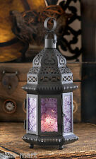 """Moroccan 11"""" tall PURPLE Candle holder Lantern outdoor wedding table centerpiece"""