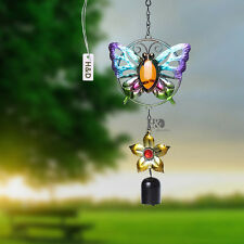 Copper & Glass Butterfly Wind Chimes Door Church Bell Feng Shui Home Decor New