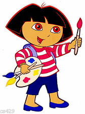 "7"" DORA ARTIST PAINTER WALL STICKER GLOSSY BORDER CHARACTER CUT OUT"