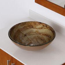 7003 ELITE Modern Design Tempered Glass Bathroom Vessel Sink for Vanity