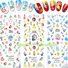 3 SHEETS/LOT DISNEY SNOW WHITE MERMAID CINDERELLA WATER NAIL ART STICKERS DECALS