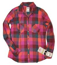 Dickies - Women's S - NWT - Pink Oxblood/Papaya Buffalo Plaid Flannel Shirt