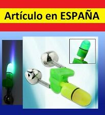 Mini luz LED + CAMPANILLA PESCA luces aviso alarma waterproof sumergible caña