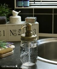 Ball Mason Rustic Glass Soap Dispenser Jar with Antique Gold Pump and Lid *UK
