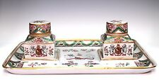 Antique French Hand Painted Edme Samson Armorial Porcelain Double Inkwell