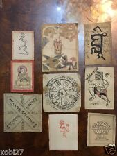 ANTIQUE MONGOLIAN BUDDHIST VARIOUS HAND DRAWN AMULETS ON PAPER SET OF 9