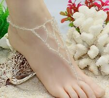 1 pcs Hawaii beach nude foot chain. Foot bracelet anklets jewelry White (BL08)