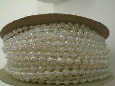 3mm 24 Yard Roll Faux Pearl Beads on a String Craft (Crystal Clear Iridescent)