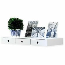White Floating Wall Shelf with 3 Drawers Concealed Mounting Bracket and Hardware