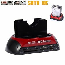 "USB 2.0 Dual SATAS IDE 2.5 inch 3.5"" Hard Disk Drive HDD Clone Dock Station New"