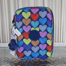 Kipling 100 PENS Pencil Case Cosmetic Pouch Festive Beauty Hearts Print  NWT