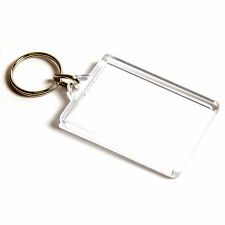 50 BLANK CLEAR LARGE KEYRINGS 50mm x 35mm 50 35 C1
