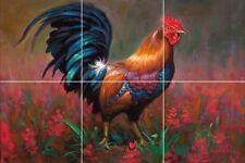 fine art painting ceramic tile mural chicken rooster backsplash farm animal
