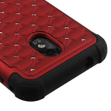 Sprint Samsung Galaxy S2 4G Hybrid Spot Diamond Case Skin Cover Red Black