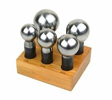 Large 5 Piece Dapping Doming Punch Set w/ Block 28mm-45mm Forming Metal