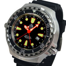 XXL52mm 24H SWISS RONDA GMT 2nd TIME ZONE COMBAT-DIVER 100ATM HELIUM-SAFE T0301