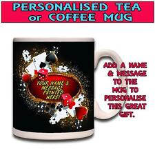 PERSONALISED BLACK JACK POKER CARDS TEA COFFEE NOVELTY FUNNY GIFT MUG ST218