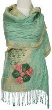 Bufanda bordadas verde, rosa, beige lino, seda Silk, linen scarf Green foulard