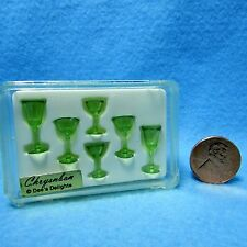Dollhouse Miniature Chrynsbon Green Goblet Glassware Set ~ CHR110TG