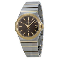 Omega Constellation Grey Dial Steel and 18kt Yellow Gold Mens Watch