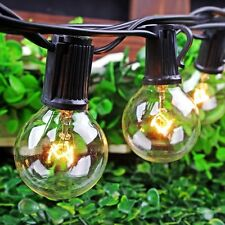 Set of 25 G40 Clear Bulbs 25 Foot Outdoor Globe Patio String Lights US Plug