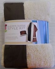 Double sided SHERPA SUEDE fabric STYLE KIT natural/brown 100% polyester 56x 54""