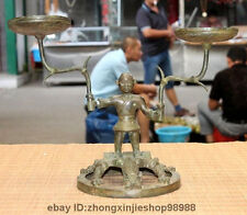 China Dynasty Bronze Copper hunter tiger Wild beast candlestick Candle holders