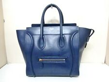 Authentic CELINE Navy Luggage Mini Shopper Leather Tote Bag w/ Dust Bag