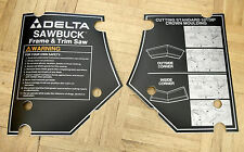 NOS Delta Sawbuck Decal Set for 33-050 t1 Saw, 422327540001 & 0002