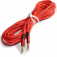 New Red Long 5m 16ft Universal 3.5mm Male to 3.5mm Male Aux Stereo Audio Cable