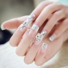 24Pcs Shining Rhinestone Short False Nails Transparent Lace Designed Square Full