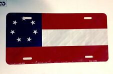 """CIVIL WAR """"1ST NATIONAL CONFEDERATE 7 STAR FLAG"""" License Plate  Made in USA"""