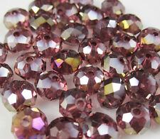 30pcs Faceted  Rondelle glass crystal #5040 6x8mm Beads In Purple AB colors XA1