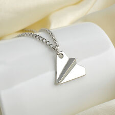 Retro Silver Paper Plane Airplane One Direction 1D Pendant Harry Necklace Gift